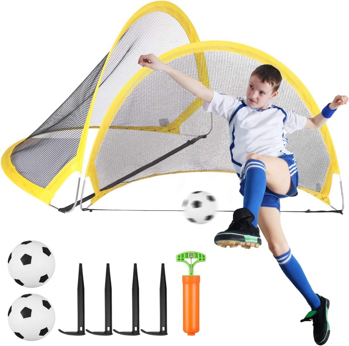 2 pcs Portable Pop-Up Soccer Goal Net For Football Training Indoor Outdoor Kids