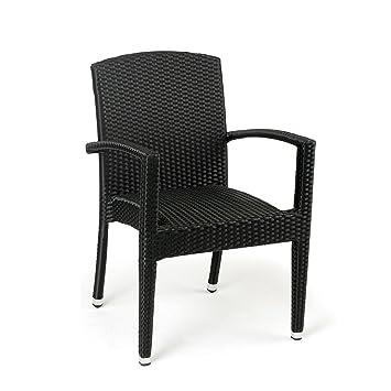 Conjunto 2 sillones ratán sintético Florencia Estilo Mimbre Trenzado de Alta Resistencia para jardín, terraza y Exterior … (Antracita)