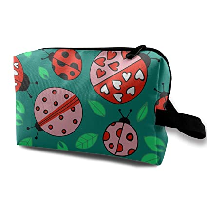 Love Ladybug Green Leaves Small Cosmetic Bags Travel Bolsa ...