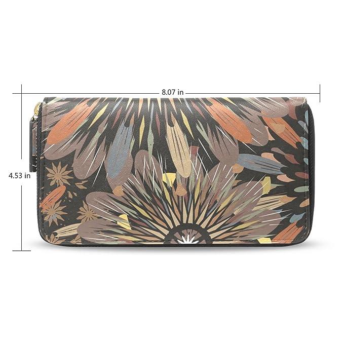 Senya mujeres largo titular de la tarjeta con cremallera de embrague tipo cartera Monedero, Estampado Abstracto de flores: Amazon.es: Ropa y accesorios