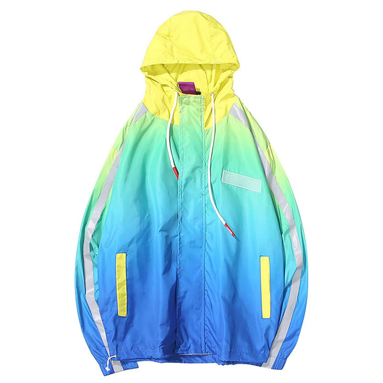 Amazon.com: Harajuku Hooded Jacket Windbreaker Gradient Color Hip Hop Casual Streetwear Men Vintage Tie Dye Hoodie Track Jacket: Clothing