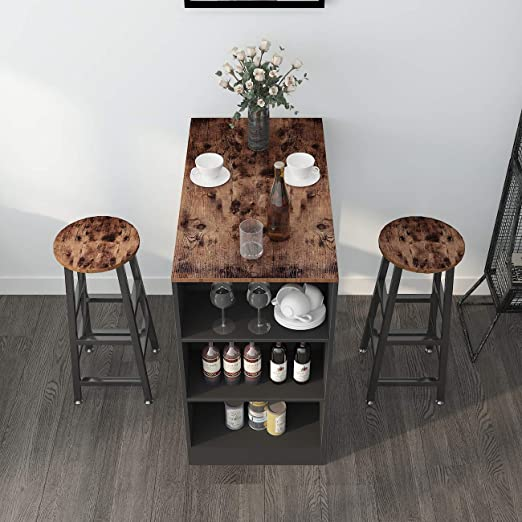 Amazon Com Sogeshome 3 Sets Bar Table With 2 Bar Stools Kitchen Counter With Bar Chairs And Breakfast Bar Table Sets With 3 Storeys Storage Space For Home Kitchen Office Bar Nsdus Dx Z813