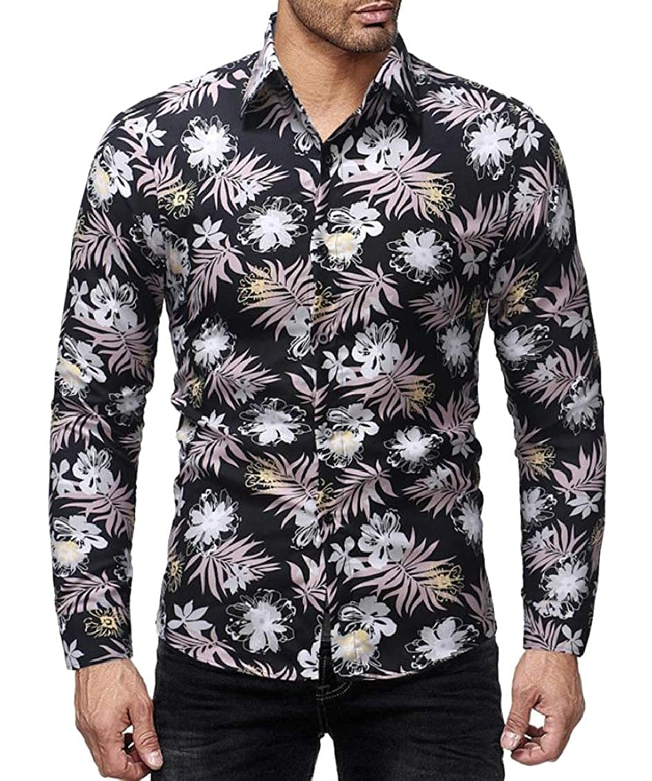Sweatwater Men Floral Digital Turn Down Vintage Printed Long Sleeve Button Down Shirts