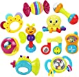 10 Baby Rattles Teether, Ball Shaker, Grab and Spin Rattle, Musical Toy Gift Set for Baby Infant, Newborn - iPlay, iLearn