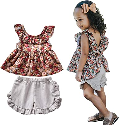 Shorts Pant Sets Floral Summer Outfits 2pcs Toddler Baby Girl Clothes Ruffle Sleeveless Shirts Tops