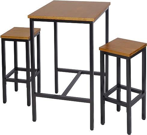 WOLTU BT12hei Tavolino da Bar Alto Tavolo per Cucina Arredo da Giardino in Metallo Legno Quercia