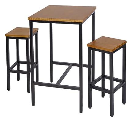 Tavolo Bar Sgabelli.Woltu Bt12hei Bh86hei 2 Set Tavolino Da Bar Con 2 Sgabelli Alti Tavolo Sedie Per Cucina Arredo Da Giardino In Metallo Legno Quercia