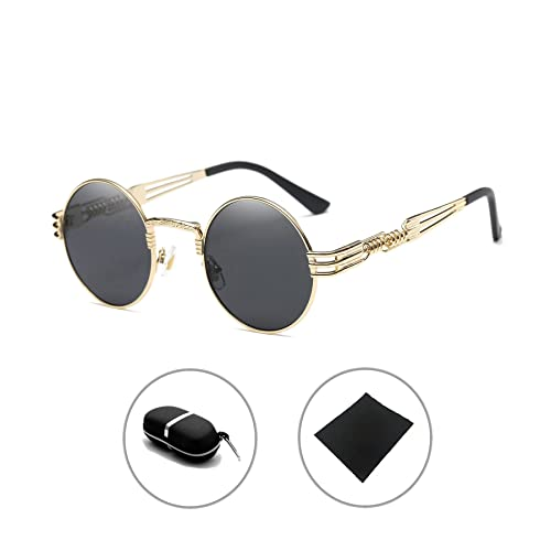 Gótico Steampunk gafas de sol Hombres Mujeres Metal Ronda Sombras Espejo Sunglasses HUANXIN