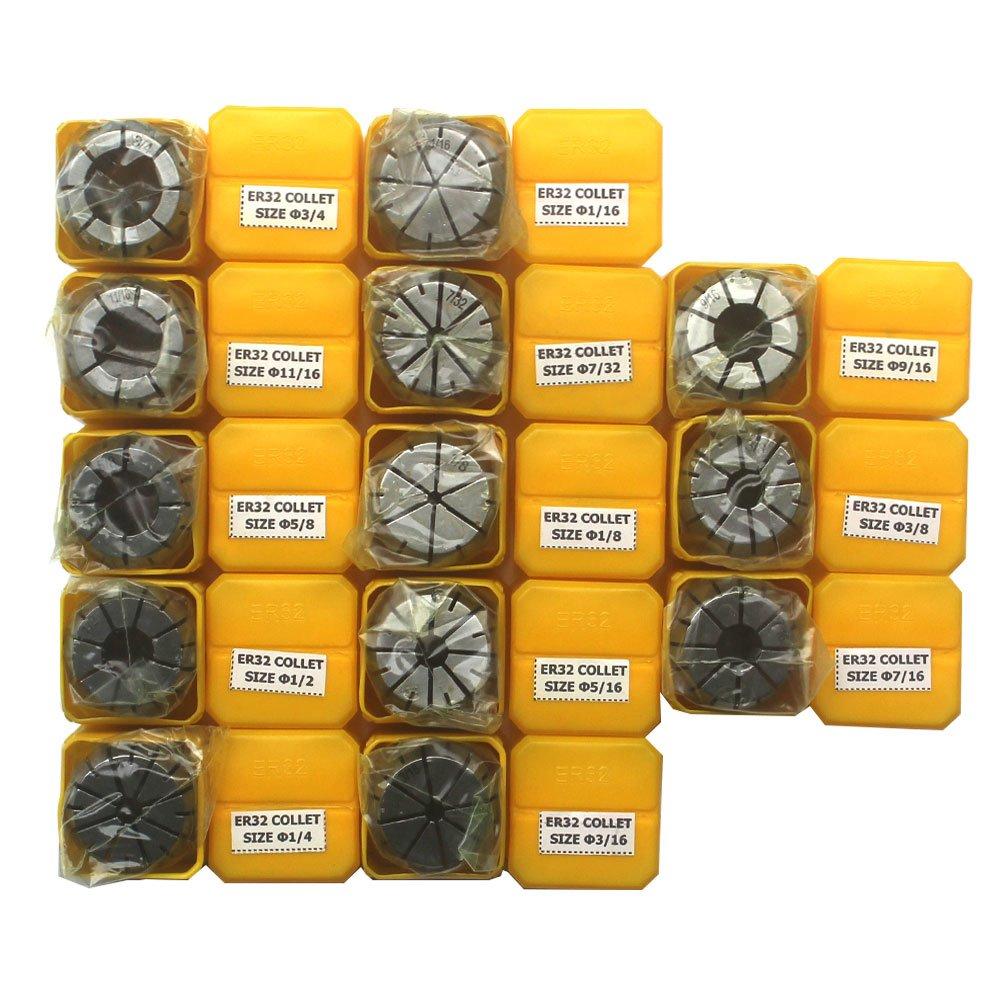 KIPA 13Pcs ER32 Spring Collet Set 1/16'' 1/8'' 3/16'' 7/32'' 1/4'' 5/16'' 3/8'' 7/16'' 1/2'' 9/16'' 5/8'' 11/16'' 3/4'' CNC Super Precision for CNC milling Lathe Tool & Workholding Engraving machines