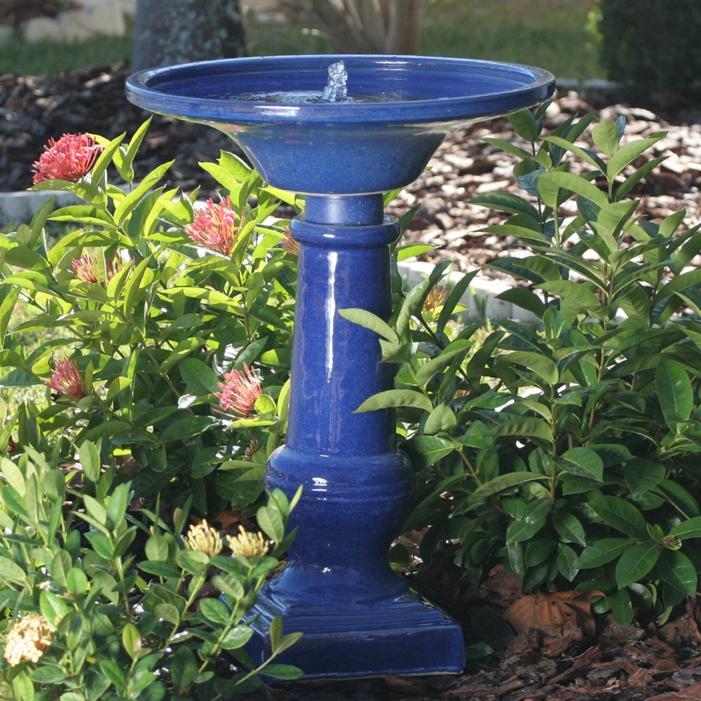 Smart Garden 25372RM1 Athena Glazed Blue Ceramic Birdbath Fountain With Solar on Demand and Battery Technology to Provide Consistent Performance in Cloudy Weather