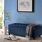 Contemporary Living Navy Blue Tufted Storage Bench Ottoman Entryway Seating End of Bed Bench Furniture