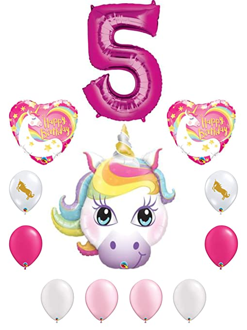 Image Unavailable Not Available For Color Rainbow Unicorn 5th Birthday Party Decoration Balloon Bundle 5 Year Old