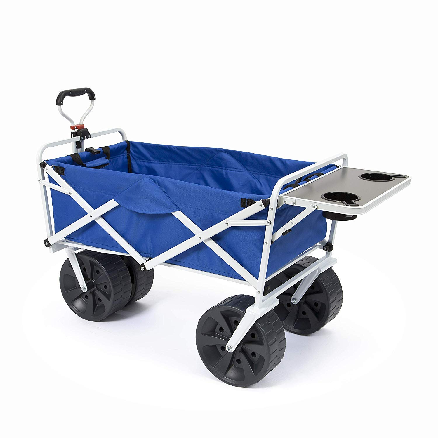 Mac Sports Heavy Duty Collapsible Folding All Terrain Utility Wagon Cart with Side Table, Blue/White