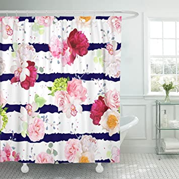 MAYTEC Shower Curtain Navy Striped With Bouquets Of Rose Peony Hydrangea Camellia Carnation And Eucalyptus Leaves
