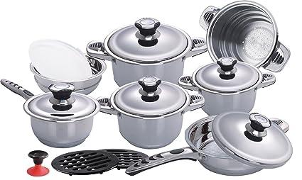db de Cocina (16 Piezas Juego de Olla de Acero de Juego Juego de cazuelas