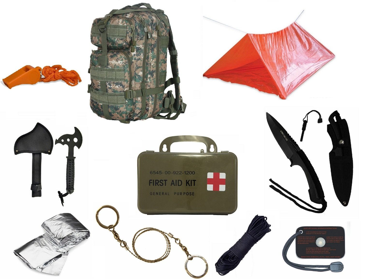 Ultimate Arms Gear Level 3 MOLLE Woodland Digital Backpack Kit; Signal Mirror, Polarshield Blanket, Knife Fire Starter, Wire Saw, Axe, 50' Foot Paracord, Camping Tube Tent, Whistle & First Aid Kit
