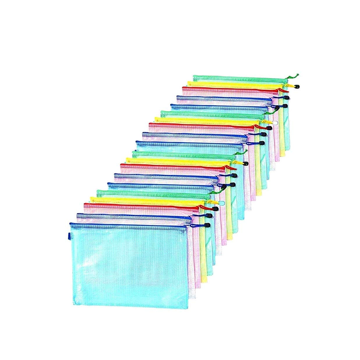 Zip File Folders, 20 pcs A4 Size Mesh Document File Bags Storage Pouch with Zipper for Cosmetics Offices Supplies Travel Accessories, 5 Colors