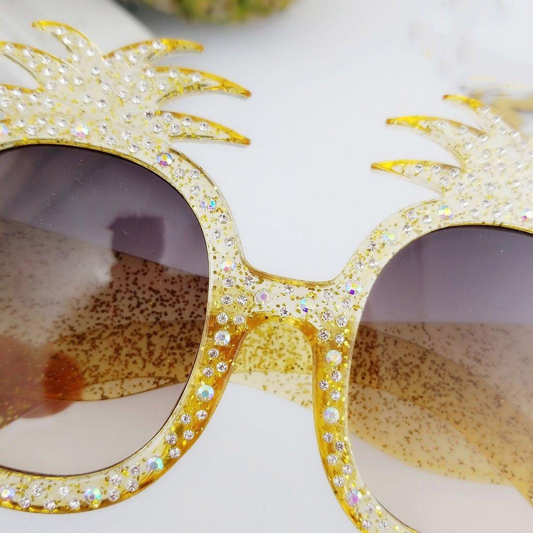 YABINA Oversized Round Sunglasses Women Pineapple Frame Fashion Modern Shades (A) by YABINA (Image #5)