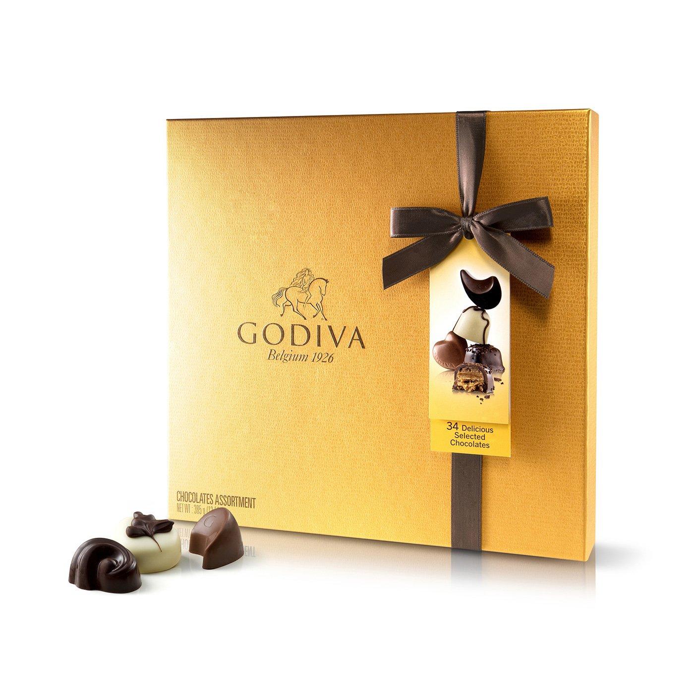 Godiva, Gold Rigid Box bombones pralines surtidos caja regalo 34 piezas, 385g: Amazon.es: Alimentación y bebidas