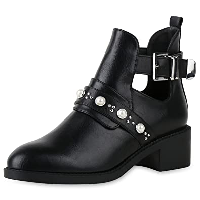 SCARPE VITA Damen Ankle Boots Nieten Stiefeletten Leder-Optik Schuhe Booties 158381 Schwarz 36 oCQRzm6
