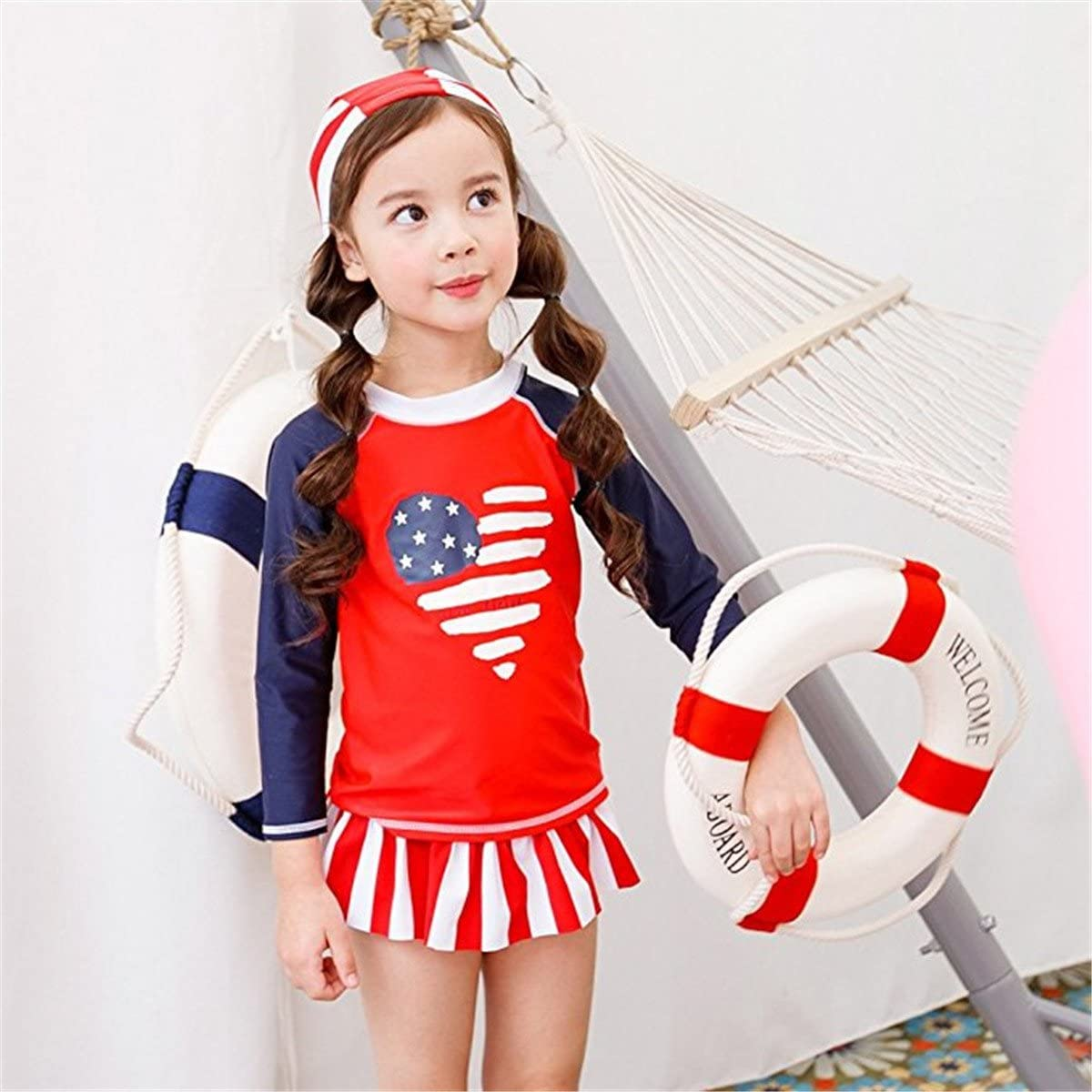Baby Kids Girls Kids 3 Pieces Long Sleeves Sun Protection Heart Stripe UV Rash Guard UPF 50 UV Swimsuit