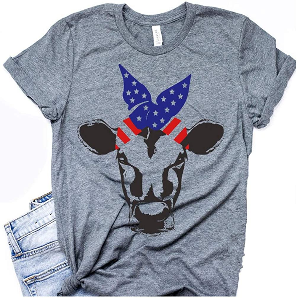 Women's T-Shirt-Independence Day Bull Pettern Tee Casual Loose Shirt Short Sleeve Tops