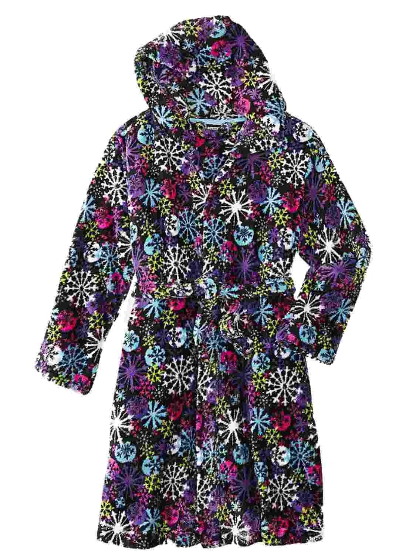 Joe Boxer Girl Black Fleece Snowflake Hoodie Bath Robe House Coat Shower Wrap M