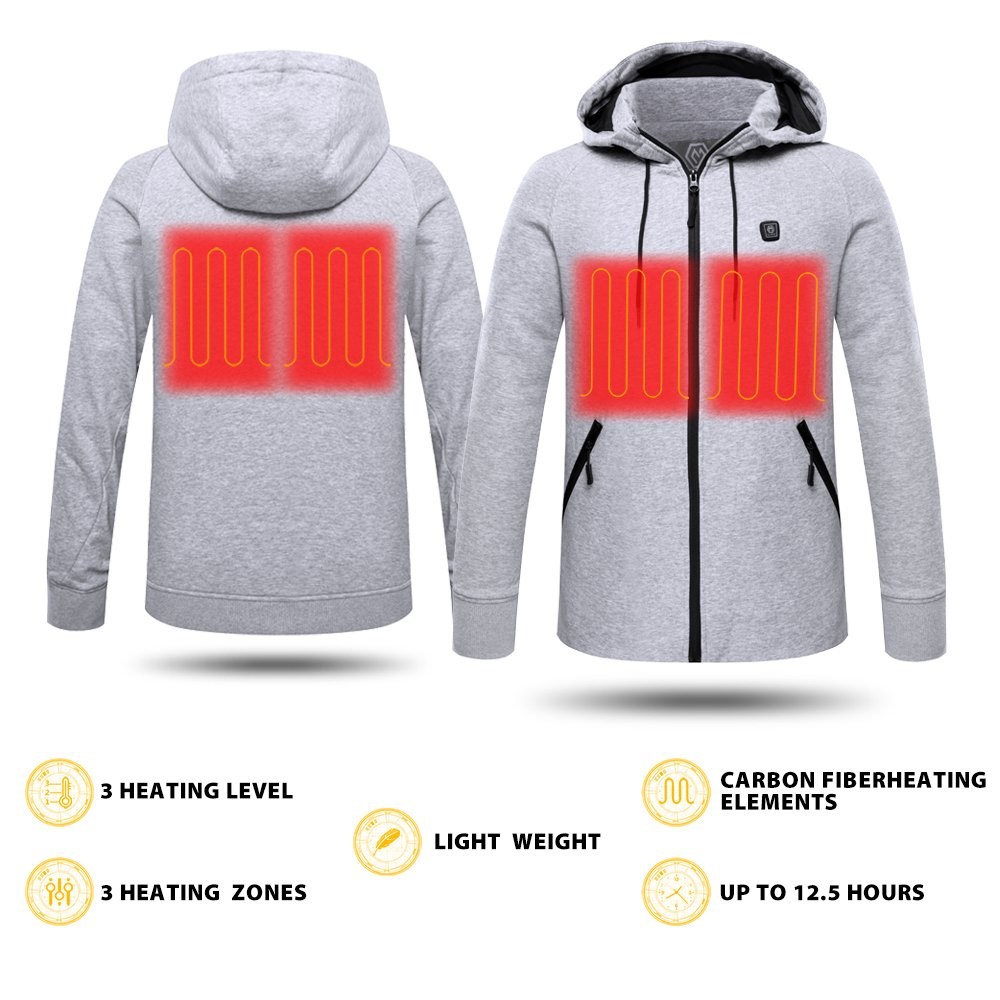 CLIMIX Mens Cordless Heated Hoodie Jacket Kit With Battery Pack (L) by CLIMIX (Image #5)