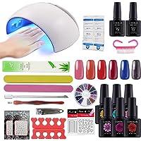 Coscelia Gel Nail Starter Kit 6 pcs Nail Gel Polish 24UV LED Nail Curing Lamp Manicure Kit Nail Base Top Coat Design Set