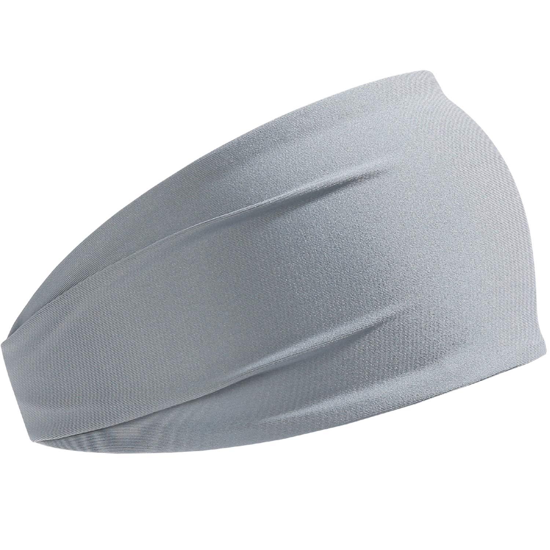 HCHYFZ Headbands Men Women Sweatband Sports Headband Moisture Wicking Workout Running Crossfit Yoga Bike (1PCS-Grey)