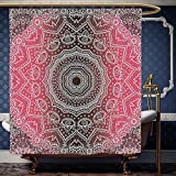 Hot Pink and Brown Shower Curtain Wanranhome Custom-made shower curtain Mandala Retro Bohemian Ombre Print Primary Essence of Cosmos Medallion Style Art Hot Pink and Brown For Bathroom Decoration 36 x 72 inches