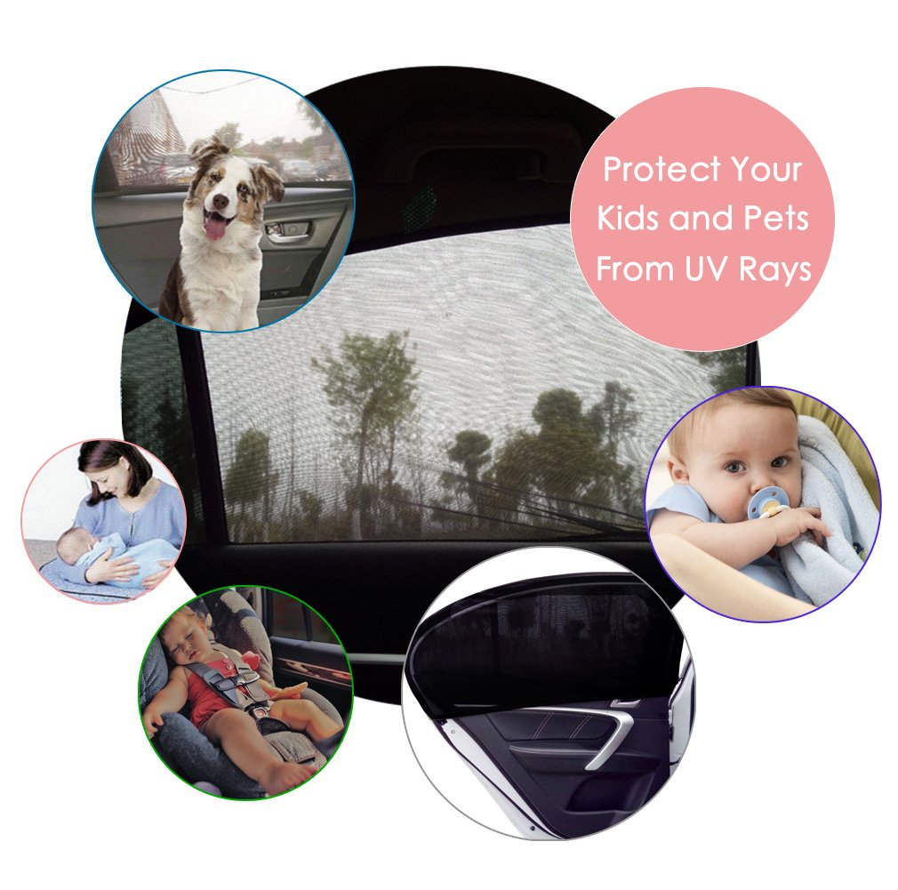 ESYNIC 2 Pack Car Sun Shade with Fixed Velcro Car Window Shade Mesh for Baby Women Kids Pet Breathable Sun Shade Net Backseat Fits Car Window Most Cars SUVs Extra Large Size