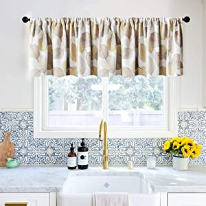 MRTREES Room Darkening Valance Curtains 16 inches Long Taupe Leaves Printed Kitchen Curtain Valances Living Room Leaf Print Bathroom Small Window Treatment 1 Panel Multi Color Rod Pocket