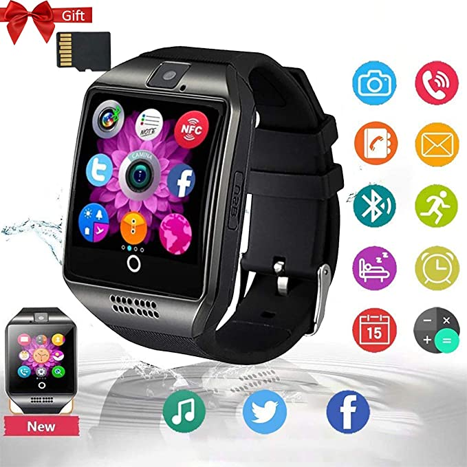 Smartwatch, Bluetooth Smart Watch Sleep Monitor Touch Screen with SIM & SD Card Band with Pedometer Compatible with ...