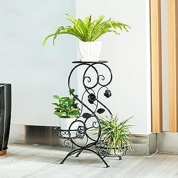 S-Typ Eisen Kunst Blumen Rack, mehrfarbig optional (schwarz / weiß ...