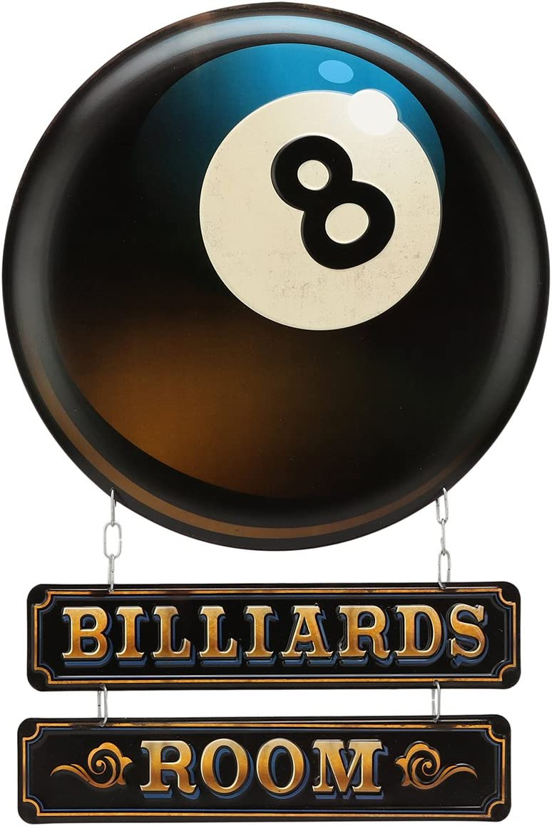 Open Road Brands Billiards Room Linked Embossed Metal Sign Wall Art Sign - Great Addition to Add What You Love to Your Home/Garage Decor