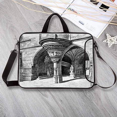 c4f06862dc77 Amazon.com: Gothic Wear-Resisting Neoprene Laptop Bag,Old Sketch of ...