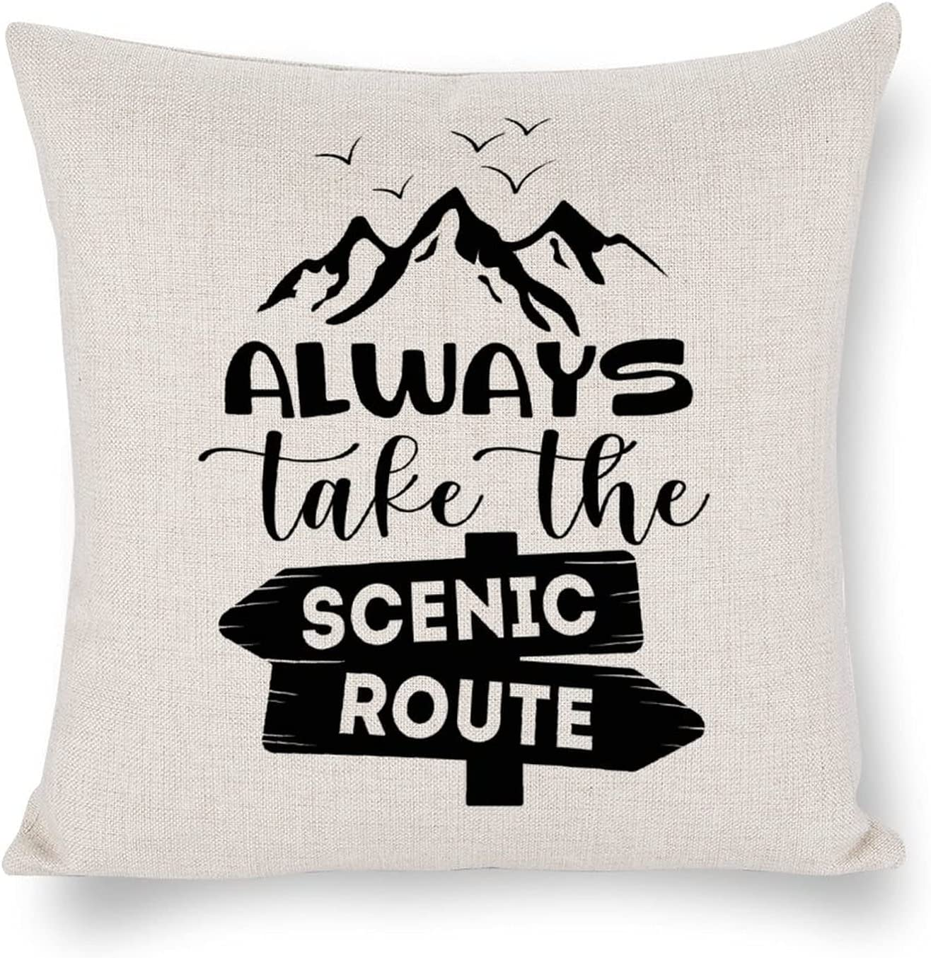 Advendure Quote Pillow Always Take The Scenic Route White Linen Throw Pillow Cover Hidden Zip Accent Cushion Adventure pillow case Camp Cushion Decor for Home 18×18 Inch Gift for Adventure Lover