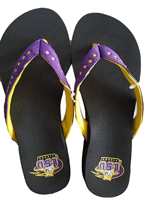 Louisiana State University Tigers Bedazzled Women's Wedge Sandal Flip Flops