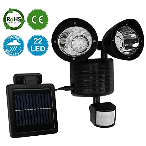 AMOS 22 LED Luz Solar Brillante de Seguridad Recargable de Energía Solar con PIR Sensor de