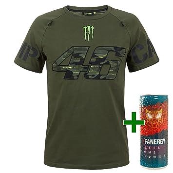 Valentino Rossi VR46 - Camiseta para Hombre Fan Artículo Monster Energy Camp Camuflaje Verde + Gratis fanergy Energy Drink: Amazon.es: Deportes y aire libre