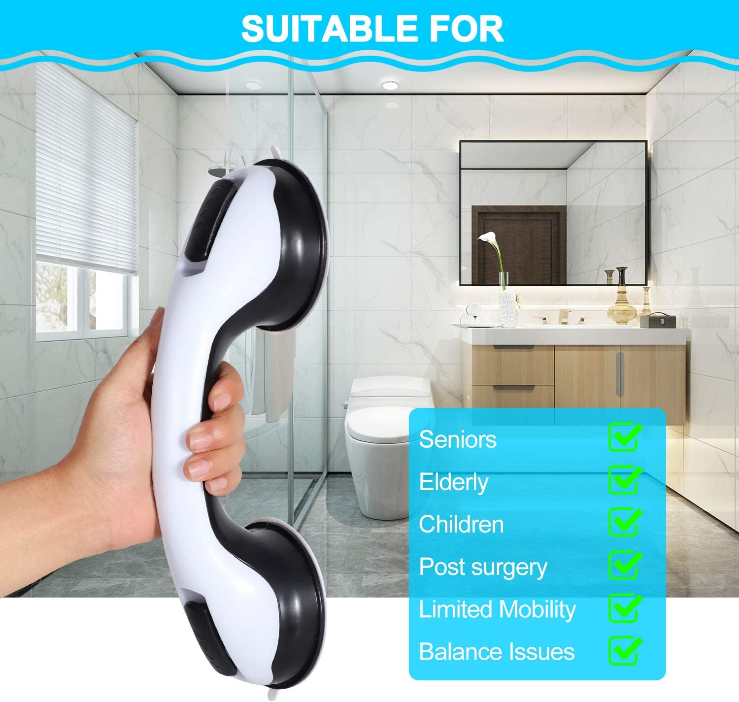 Bath Handle 2 Pack 12 inch Shower Handle with Strong Hold Suction Cup Grip Grab in Bathroom Shower Suction Grab Bar Grab Bars for Bathroom Safety Grab Bar