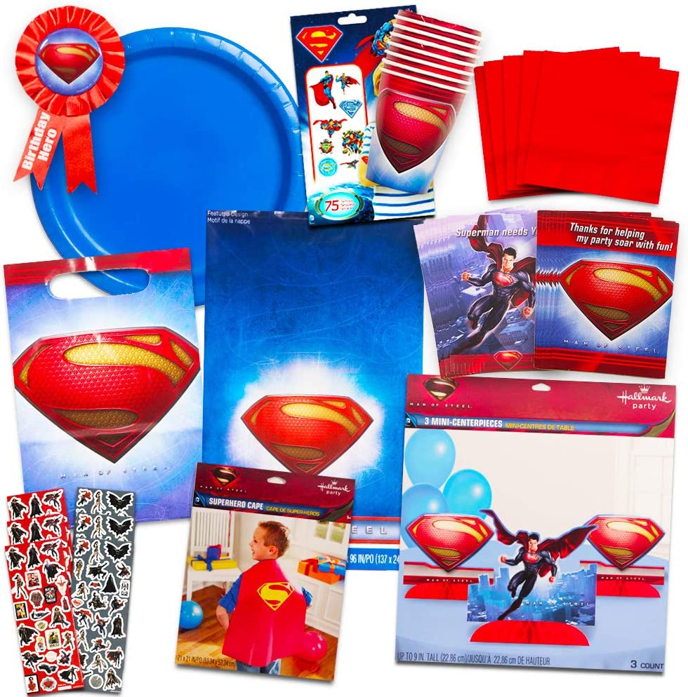 Invitations and More Superman Birthday Party Decorations Cape Table Cover Superman Party Supplies Ultimate Set