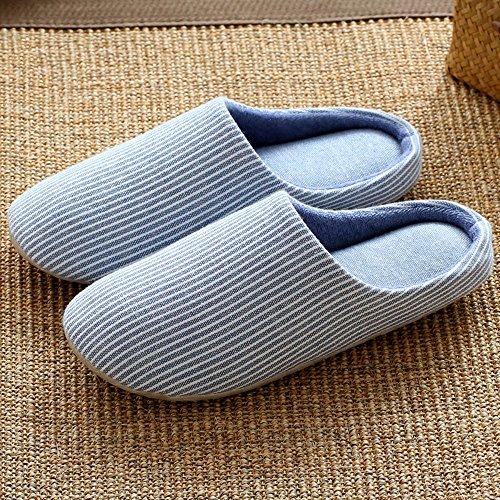 ZHIRONG Primavera y verano Pareja Zapatillas de algodón Silencioso antideslizante fondo grueso de los pantuflas de fondo suave (5 colores opcional) (tamaño opcional) ( Color : Rojo , Tamaño : M(35-38) Azul
