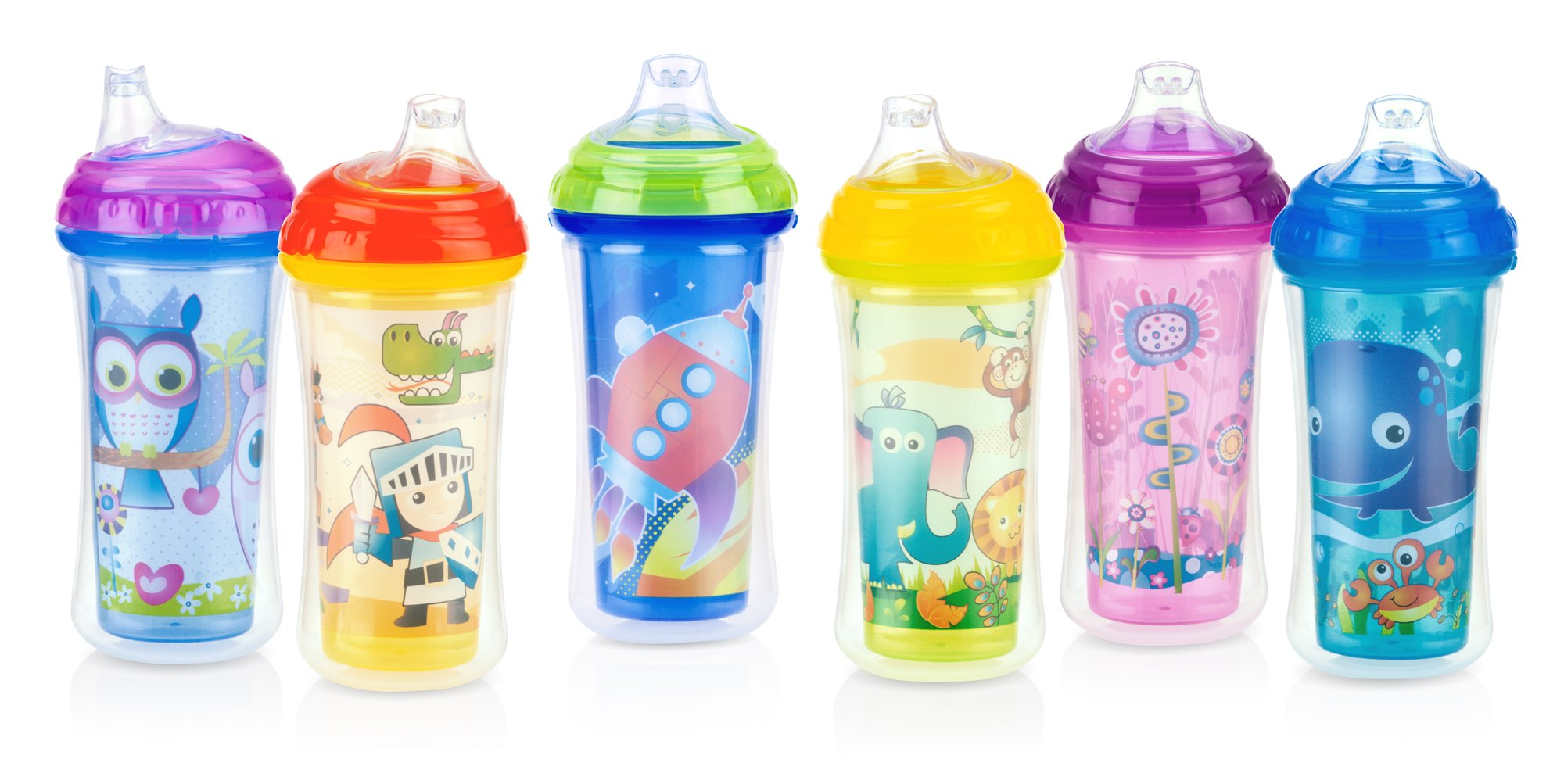 Nuby No-Spill Insulated Sipper with Spout, 9 Ounce, Colors May Vary
