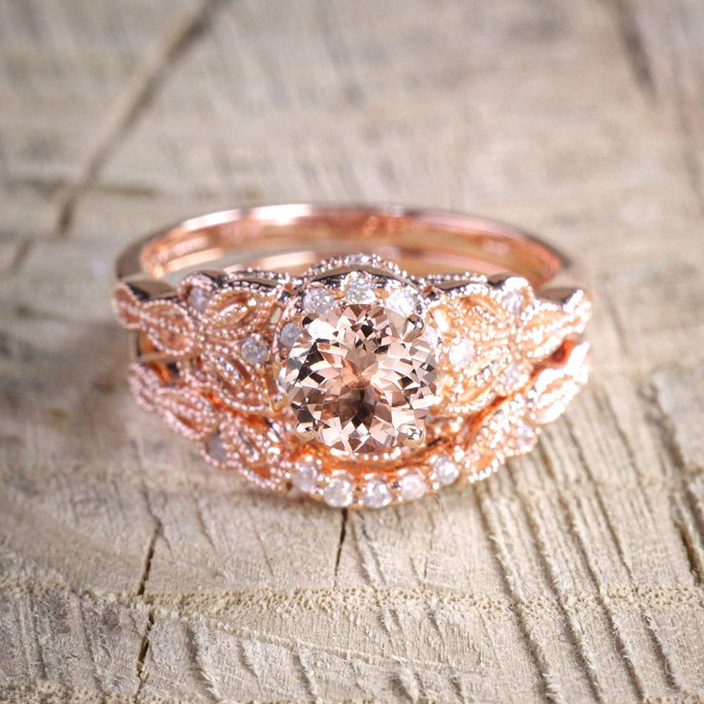 WoCoo 1Pair Ring/Set Rose Gold Filled Wedding Engagement Ring Great for Valentine/Birthday/Festivals Gifts(Rose Gold,8) by WoCoo (Image #2)