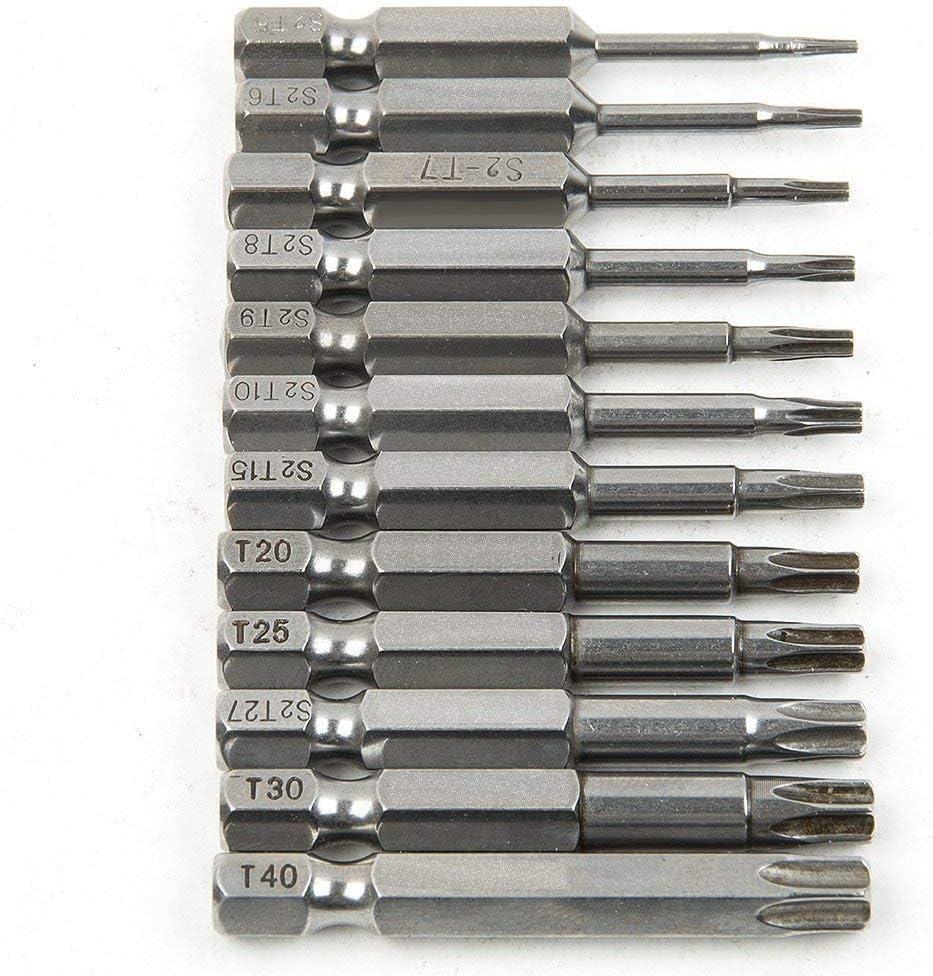 acero Juego de puntas de destornillador magn/éticas de estrella Torx de seguridad hexagonal 12 piezas 50 mm v/ástago S2