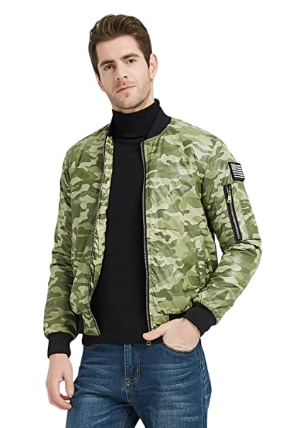 d65f6f8fa MADHERO Men's Padded Bomber Jacket Winter Warm Outerwear Coat with Flag  Patch