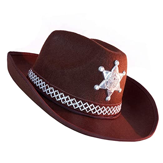 e00818bff7bce Amazon.com  Brown Western Sheriff Cowboy Hat - One Size with Premium Fit  Elastic Band - Costume Accessory  Clothing