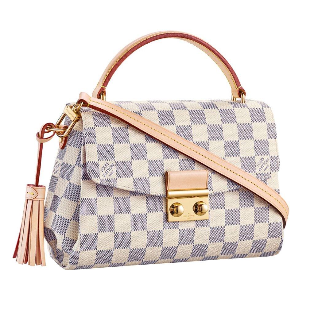 73d7e5fa0f84 Louis Vuitton Damier Azur Canvas Croisette Hand Carry Shoulder Handbag  Article N41581 Made in France  Handbags  Amazon.com